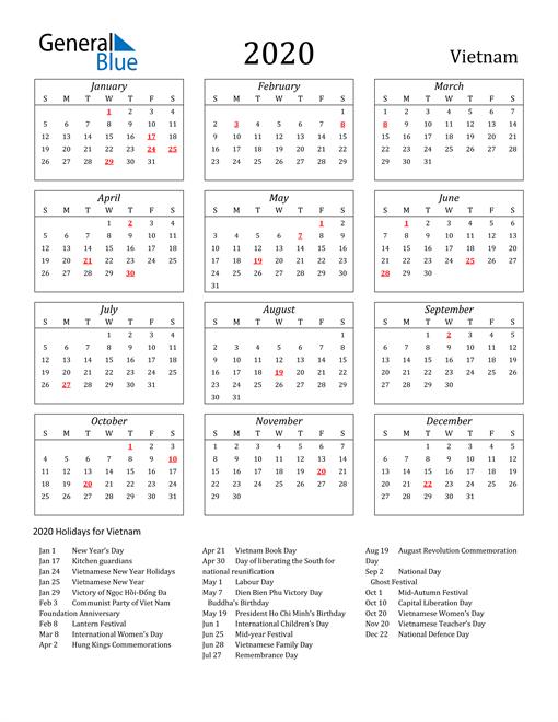 2020 Vietnam Holiday Calendar