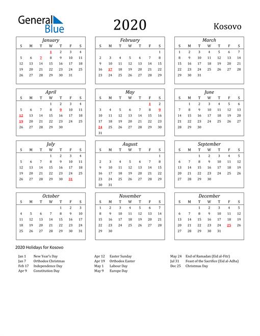 Image of Kosovo 2020 Calendar Streamlined Version with Holidays