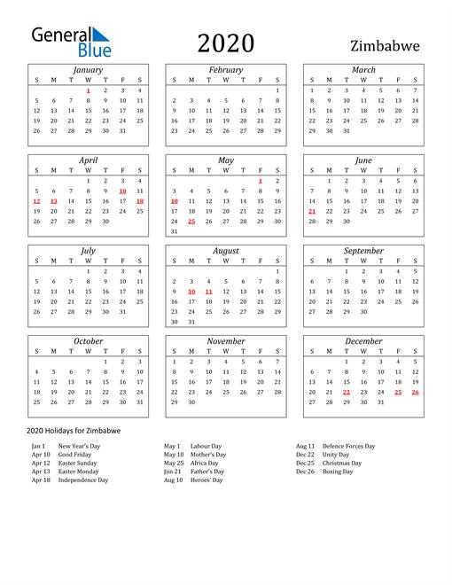 2020 Zimbabwe Holiday Calendar