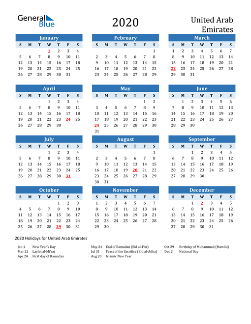 Image of United Arab Emirates 2020 Calendar Two-Tone Blue with Holidays