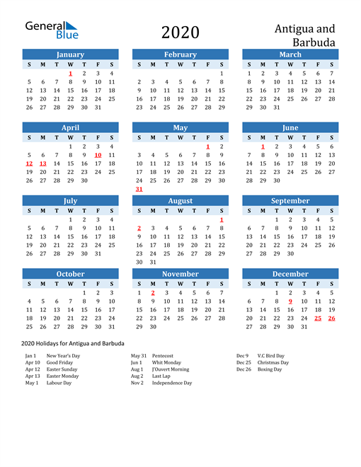 Image of Antigua and Barbuda 2020 Calendar Two-Tone Blue with Holidays