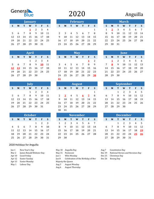 Image of Anguilla 2020 Calendar Two-Tone Blue with Holidays