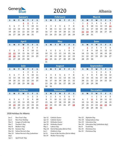 Printable Calendar 2020 with Albania Holidays