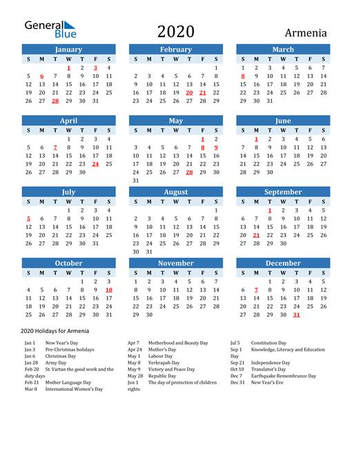 Printable Calendar 2020 with Armenia Holidays