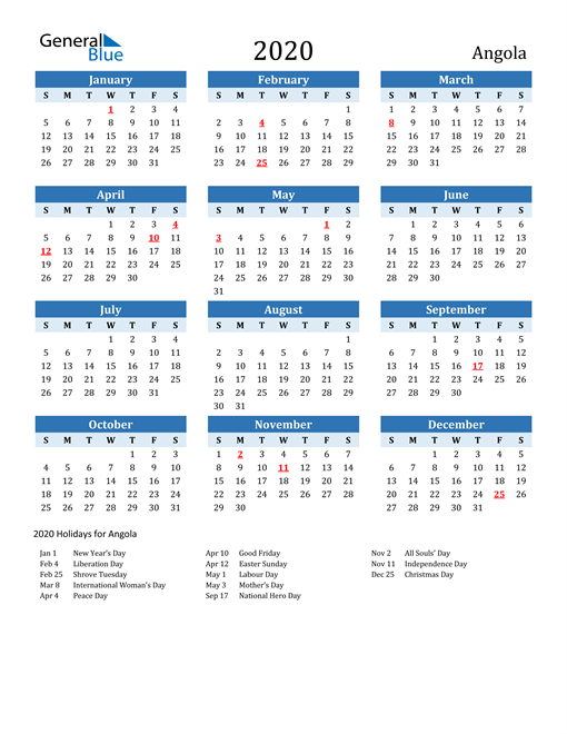 Image of Angola 2020 Calendar Two-Tone Blue with Holidays