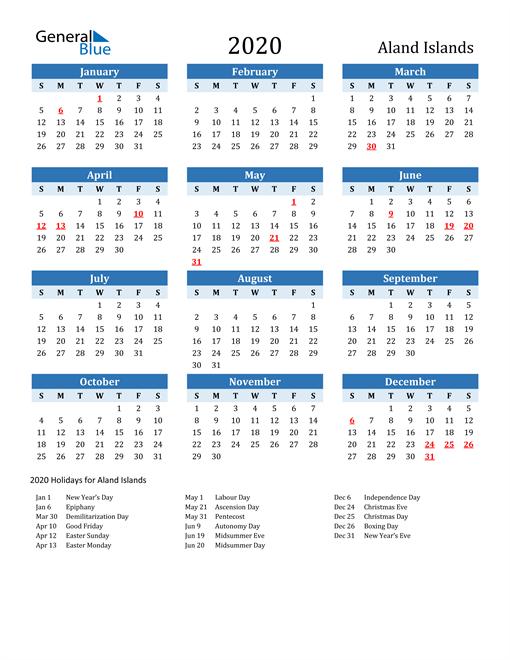 Printable Calendar 2020 with Aland Islands Holidays