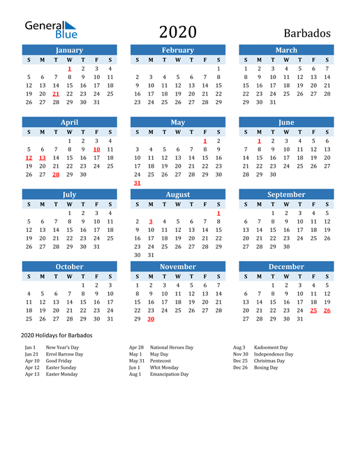 Image of Barbados 2020 Calendar Two-Tone Blue with Holidays