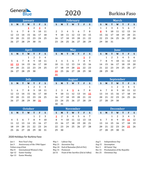 Printable Calendar 2020 with Burkina Faso Holidays