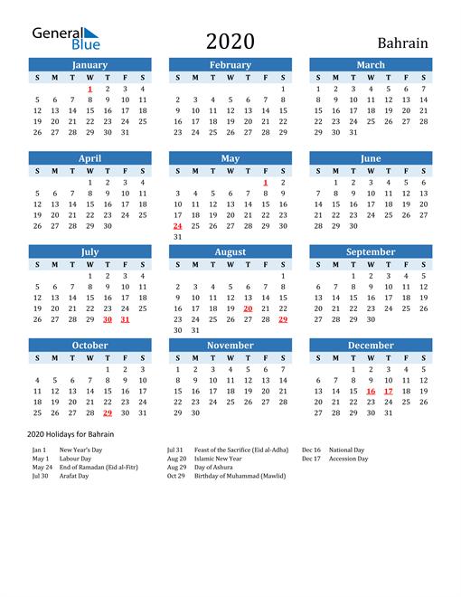 Printable Calendar 2020 with Bahrain Holidays