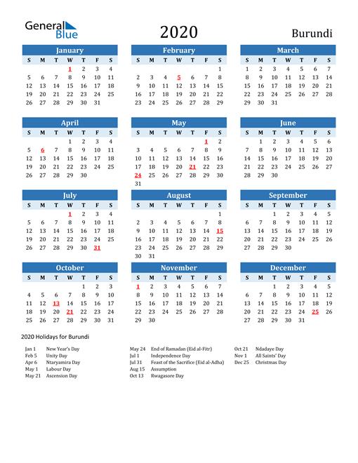 Printable Calendar 2020 with Burundi Holidays