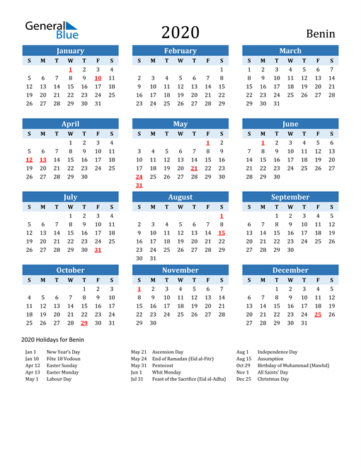 Printable Calendar 2020 with Benin Holidays