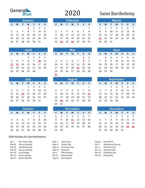 Printable Calendar 2020 with Saint Barthelemy Holidays