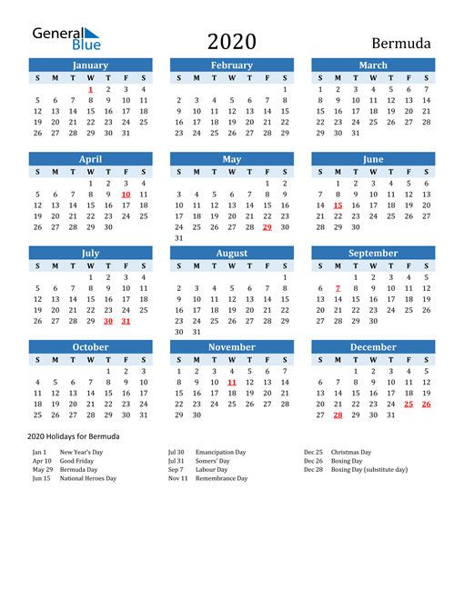 Image of Bermuda 2020 Calendar Two-Tone Blue with Holidays