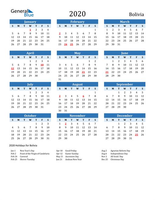 Printable Calendar 2020 with Bolivia Holidays