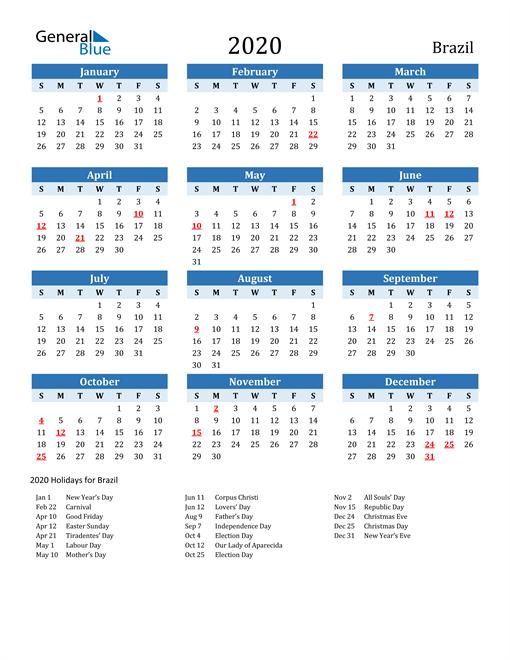 Printable Calendar 2020 with Brazil Holidays