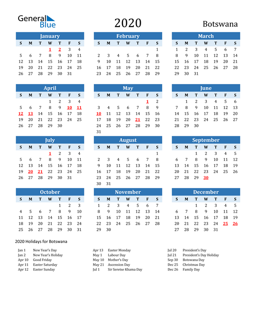 Image of Botswana 2020 Calendar Two-Tone Blue with Holidays