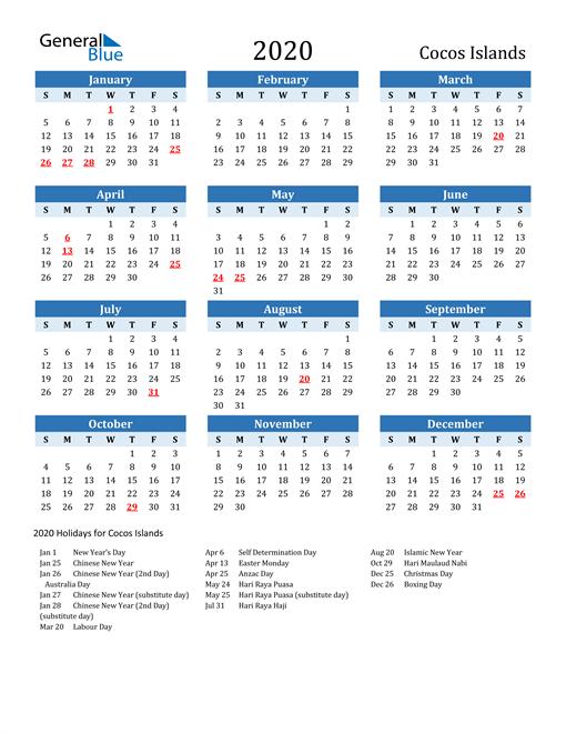 Printable Calendar 2020 with Cocos Islands Holidays