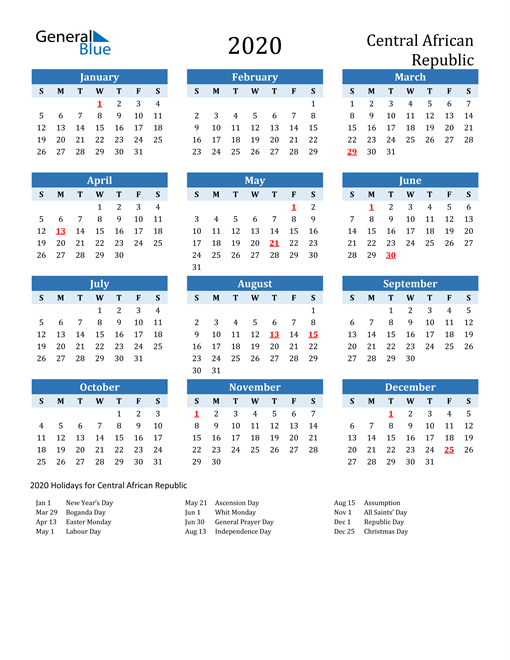 Printable Calendar 2020 with Central African Republic Holidays