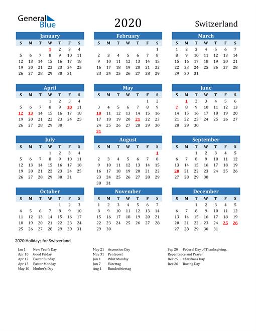 Image of Switzerland 2020 Calendar Two-Tone Blue with Holidays