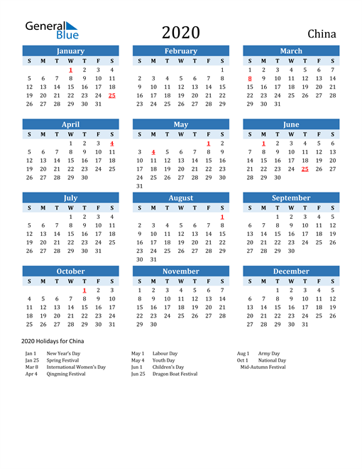Image of China 2020 Calendar Two-Tone Blue with Holidays
