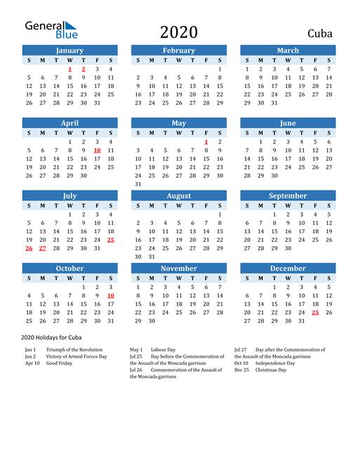 Printable Calendar 2020 with Cuba Holidays
