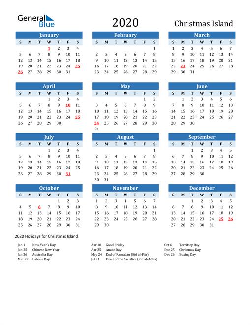 Image of Christmas Island 2020 Calendar Two-Tone Blue with Holidays