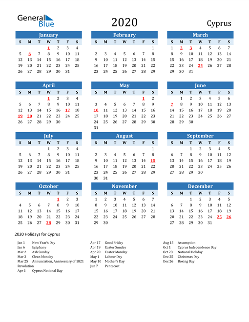 Image of Cyprus 2020 Calendar Two-Tone Blue with Holidays