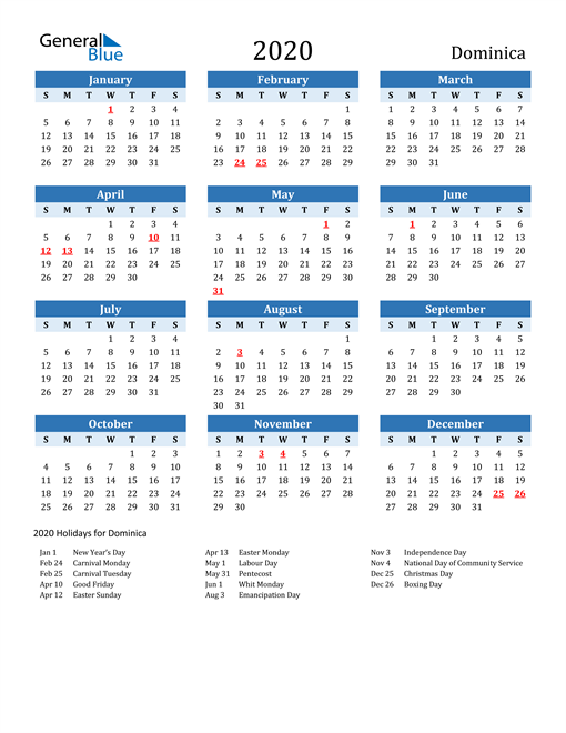 Image of Dominica 2020 Calendar Two-Tone Blue with Holidays