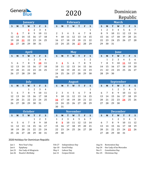 Printable Calendar 2020 with Dominican Republic Holidays