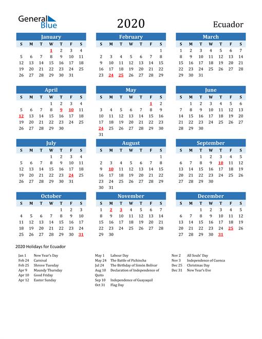 Image of Ecuador 2020 Calendar Two-Tone Blue with Holidays