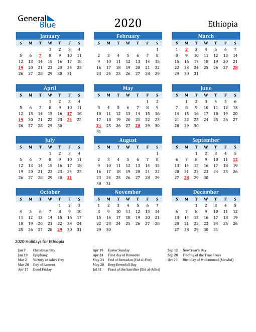 Image of Ethiopia 2020 Calendar Two-Tone Blue with Holidays