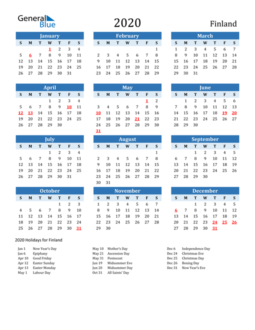 Image of Finland 2020 Calendar Two-Tone Blue with Holidays