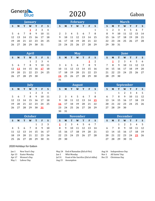 Image of Gabon 2020 Calendar Two-Tone Blue with Holidays