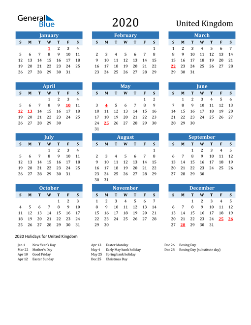 2020 calendar united kingdom with holidays 2020 calendar united kingdom with