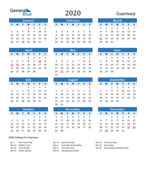 Image of Guernsey 2020 Calendar Two-Tone Blue with Holidays