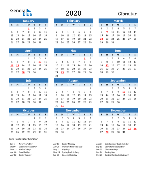 Printable Calendar 2020 with Gibraltar Holidays