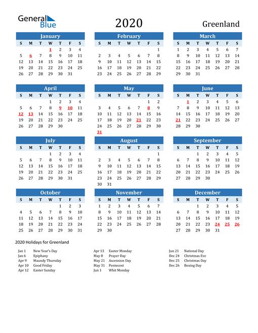 Printable Calendar 2020 with Greenland Holidays