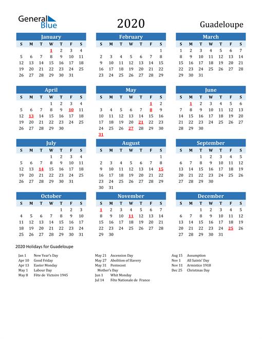 Printable Calendar 2020 with Guadeloupe Holidays