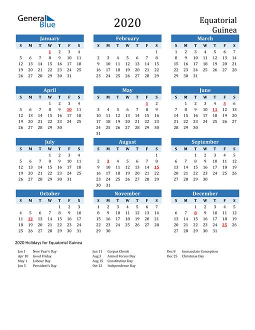 Printable Calendar 2020 with Equatorial Guinea Holidays