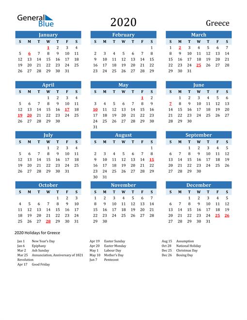 Printable Calendar 2020 with Greece Holidays
