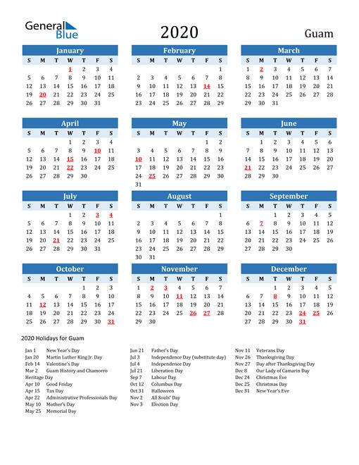Printable Calendar 2020 with Guam Holidays