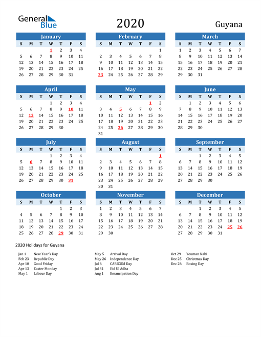 Image of Guyana 2020 Calendar Two-Tone Blue with Holidays