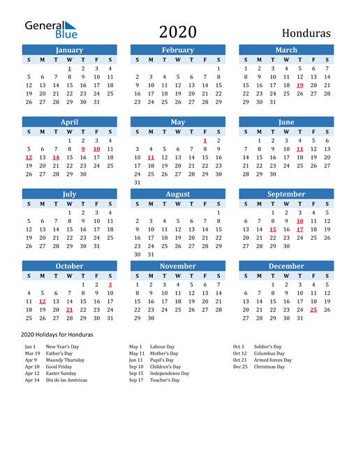 Printable Calendar 2020 with Honduras Holidays