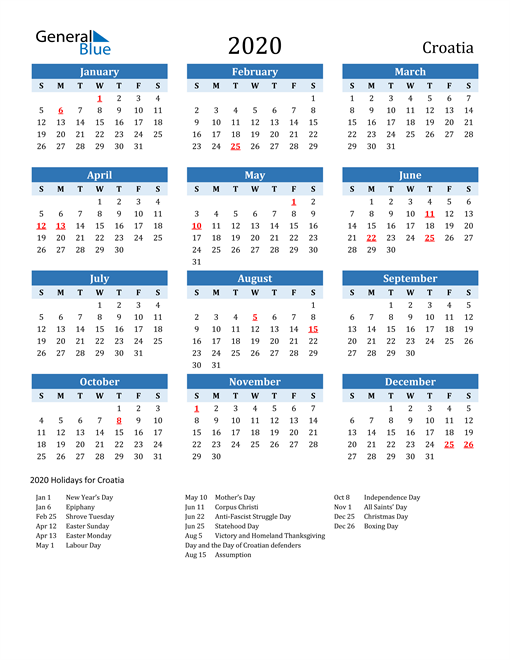 Image of Croatia 2020 Calendar Two-Tone Blue with Holidays
