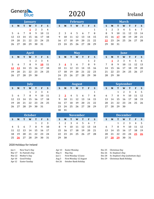 Image of Ireland 2020 Calendar Two-Tone Blue with Holidays