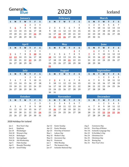 Printable Calendar 2020 with Iceland Holidays