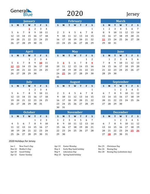 Printable Calendar 2020 with Jersey Holidays