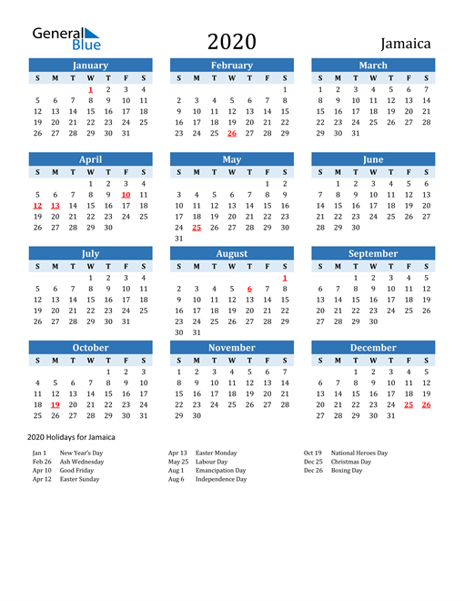 Image of Jamaica 2020 Calendar Two-Tone Blue with Holidays