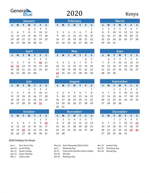 Printable Calendar 2020 with Kenya Holidays