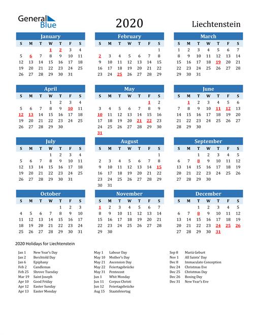 Printable Calendar 2020 with Liechtenstein Holidays